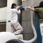 東京都中央区銀座にあるビルの石貼り改修工事